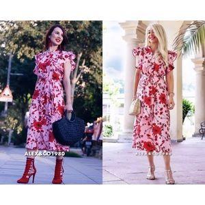 Zara floral print linen tunic midi dress